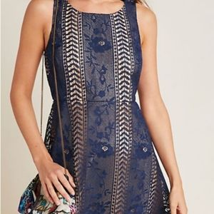 Anthropologie NWT Lace Blue Dress. Lovely. Sz. 12